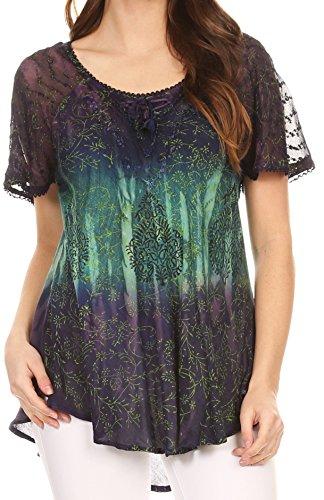 Hippie Tunic Blouse - Sakkas 17875 - Nayen Tie-Dye Sheer Cap Sleeve Embellished Relaxed Fit Drawstring Tunic Top - Purple - OS