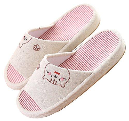 Blubi Mujeres Summer Cat Flax Cómodo Zapatillas De Casa Cute Slippers Cream 2