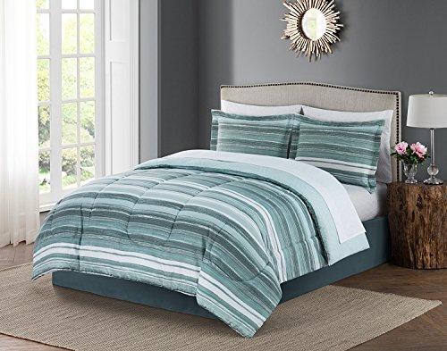 Style Domain OZR02TC37SEG Bruno 8Piece Bed-in-a-Bag Comforter Set, Queen, Seaglass, Queen 86