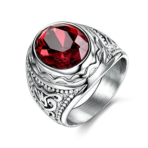 MASOP Luxury Stainless Steel Rings for Men Oval Ruby Color Crystal Stone Jewelry ()