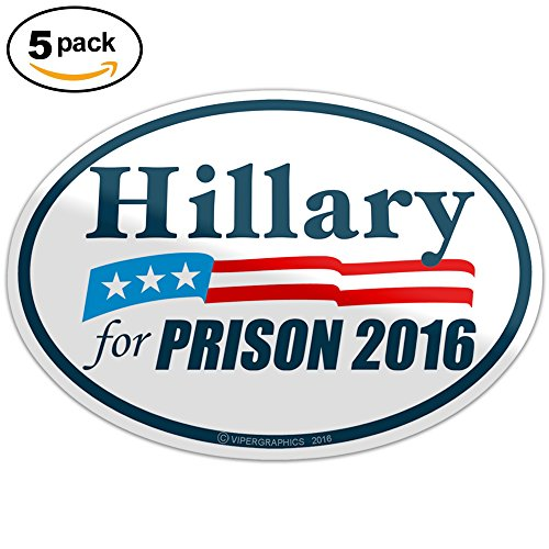 Hillary for Prison 2016 Bumper Sticker Anti Hillary Clinton