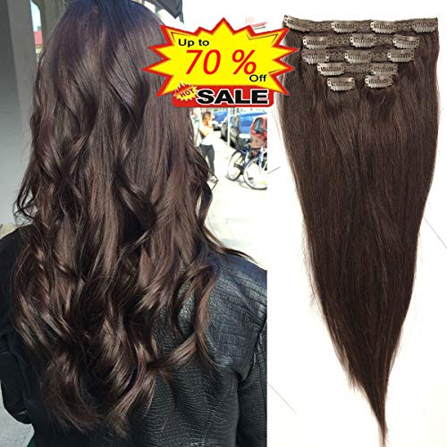 WENYU Clip in Hair Extensions Human Hair for Women 100% Human Hair Clip in Extensions Straight Clip in Human Hair Extensions 18 inch Dark Brown(#2) 6Pieces 120grams(18 inch,120g, Dark Brown(#2))