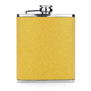 Yellow Glitter 7oz Stainless Steel Hip Flask