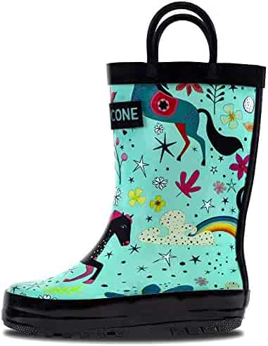 LONECONE Rain Boots with Easy-On Handles in Fun Patterns for Toddlers and Kids, Moroccan Horses - Teal, Toddler 8