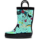 LONECONE Rain Boots with Easy-On Handles in Fun Patterns for Toddlers and Kids, Moroccan Horses - Teal, Toddler 10
