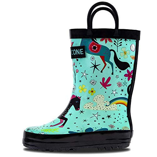 - LONECONE Rain Boots with Easy-On Handles in Fun Patterns for Toddlers and Kids, Moroccan Horses - Teal, 1 Little Kid