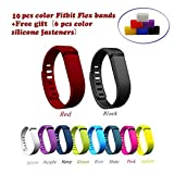 (US) NIUTOP®Fashion Multicolor Set of 10pcs Large/Small Replacement Wristband Wrist Bands with Clasps for Fitbit Flex Only /No tracker/ Wireless Activity Bracelet Sport Wristband Fit Bit Flex Bracelet Sport Arm Band Armband(No tracker, Replacement Bands