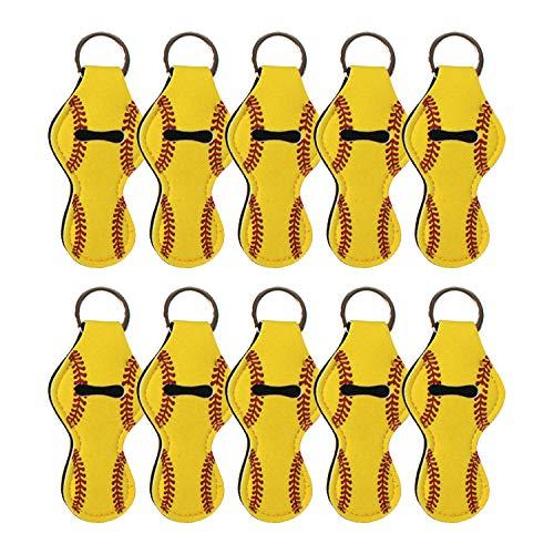 10 Pack Neoprene Chapstick Holder Keychain Bulk Blank Softball Chapstick Holders,Yellow(Yellow Softball,10 Pack)