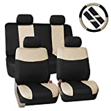 FH GROUP Stylish Cloth Full Set Car Seat Covers Combo-FH2033 Steering Wheel & Seat Belt Pads, Beige / Black- Fit Most Car, Truck, Suv, or Van