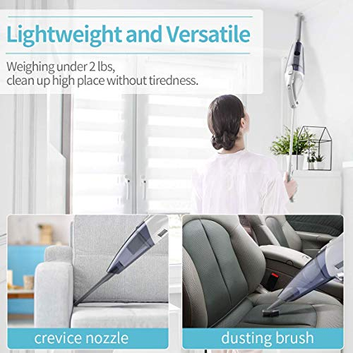 Cordless Vacuum with LED Motorized Brush, Rechargeable Lightweight Portable Vacuum Cleaner for Pet Hairs, Home, Stairs, Car