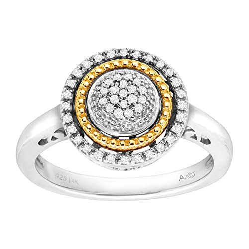 1/8 ct Diamond Circle Ring in Sterling Silver & 14K Gold Size 7