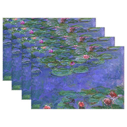 WIHVE Placemats Set of 6, Monet's Red Water-Lilies Oil Paintings Holiday Non Slip Heat-Resistant Washable Polyester Table Place Mats for Kitchen Dining Table, 12