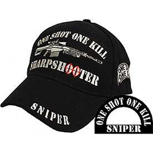 (AES One Shot One Kill Sniper Rifle Sharpshooter Black Embroidered Cap)