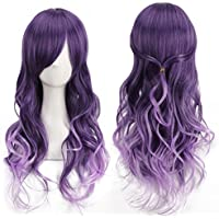 Harajuku Women Gradient Purple Curly Wavy Long Wigs Cosplay Party Full Hair (Size: 15cm by 29cm by 4.5cm, Color: Purple)