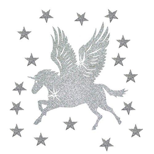 Silver Unicorn Horse (Fabric Glitter Large Unicorn Wing Horse Silver Iron-On DIY Bling TShirt Transfer Patch)