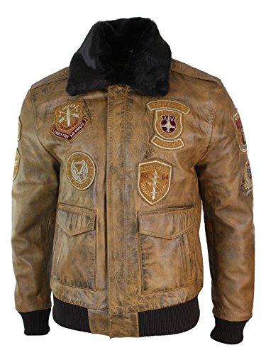 (Mens Aviator Flying Pilot Bomber Jacket Vintage Tan Removable Black Fur Collar)
