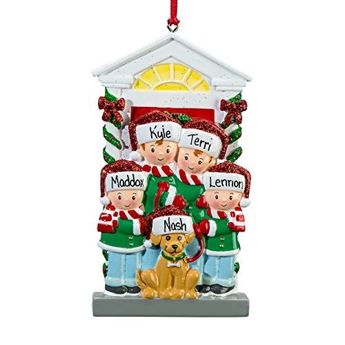 Miles Kimball Personalized Family and Dog Ornament, Family of 4
