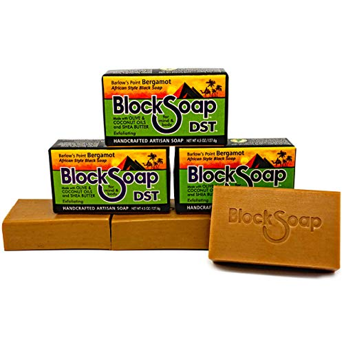 - African Style Artisan Black Bar Soap with Sea Salt, Olive Oil, Coconut Oil and Shea Butter - Barlow's Point Bergamot 3-Pack (4.5oz each)