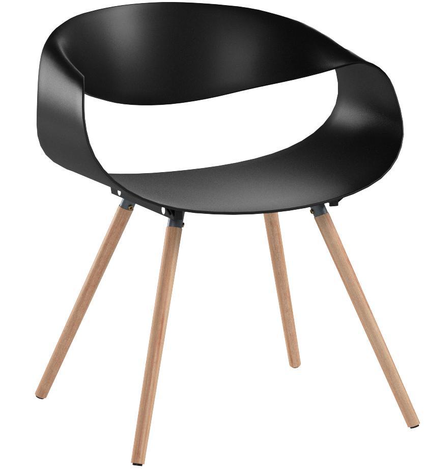 capacit/é de Charge Max 150 kg Noir Coque en Plastique CLP Chaise de Visiteur Tuva pi/ètement en Bois de h/être Chaise loft Chaise de Salle dattente en Similicuir