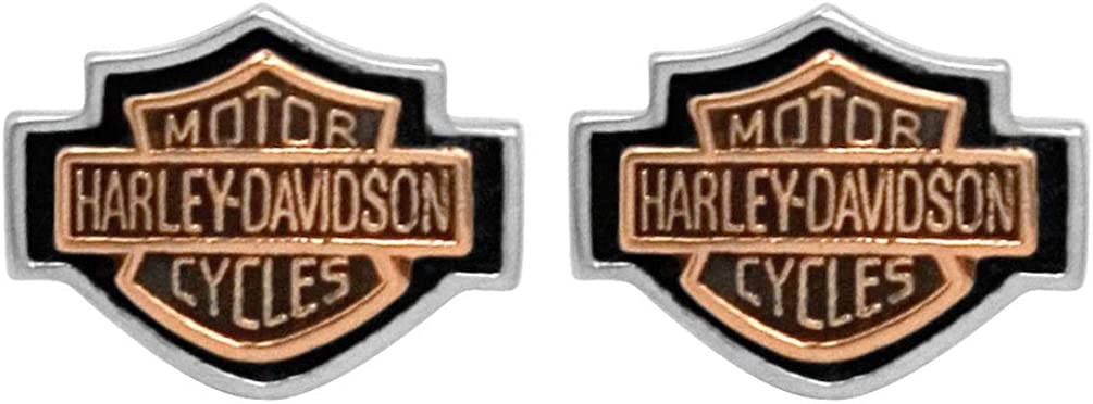 Harley-Davidson Women's Copper Bar & Shield Cameo Post Earrings HDE0261