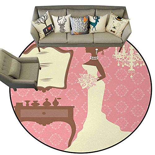 Ballard Vanity - Hedda Clare Round Area Rug,Bridal Shower,Wedding Dress with Flowers and Vanity Swirl Backdrop Celebration,Coral Brown and White,Artwork Print Anti-Skid Area Rug 5.2