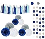 Tissue Flowers Pom Pom Poms Party Girl Paper Decorations First Birthday Girl Tissue Flowers Tassel Paper Baby Shower Decorations (Navy Blue, White, Grey)