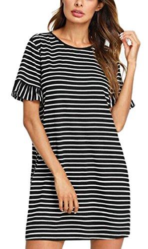 Stylish Scoop Dresses 1 Neck Leisure Women Jaycargogo Stripe Mini Loose qFwTKRv