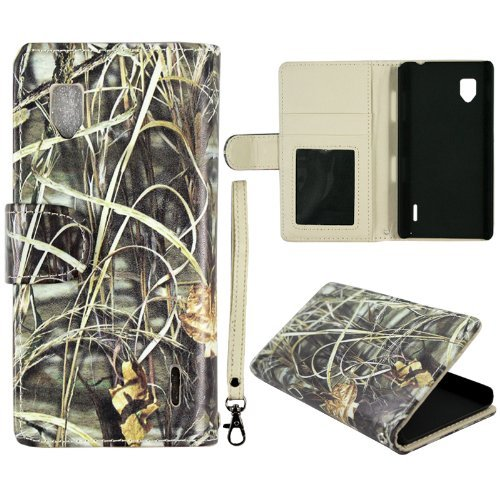 Camo Hay Leather Flip Wallet ID Pouch LG Optimus G Sprint LS970 E975 E973 Case Cover Phone Snap on Cover Case Faceplates