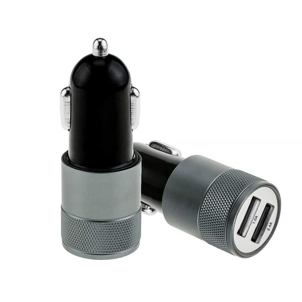 Uzinb Dual USB 5V 2A Auto Smart Phone PC Caricatore Portatile in Metallo accendisigari in Automobile