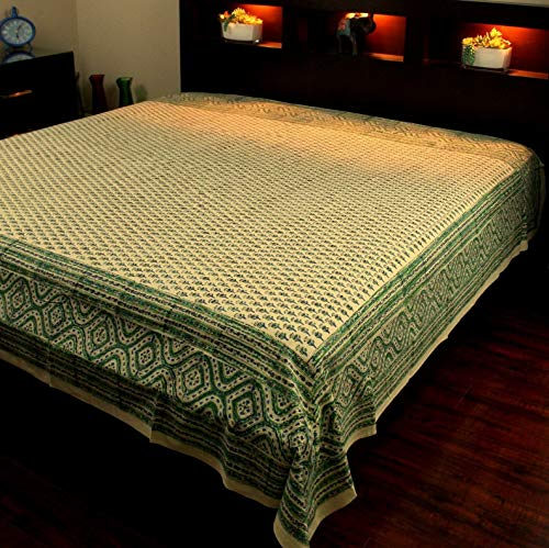 Mikash Block Print Tapestry Wall Hanging Cotton Floral Tablecloth Bedspread Green Twin | Model TBLCLTH - 365
