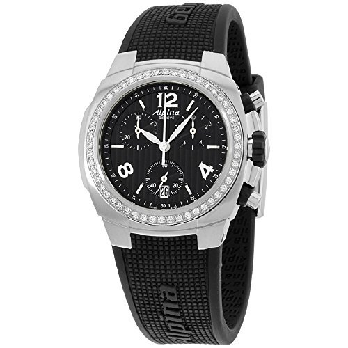 Alpina Avalanche Black Dial Silicone Watch Diamond Ladies Watch AL350LBBB2ADD6