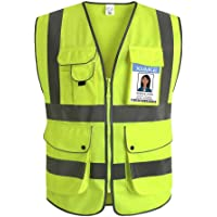 XIAKE Class 2 Reflective Safety Vest with 9 Pockets and Front Zipper High Visibility Safety Vests,ANSI/ISEA Standards(Small,Yellow)