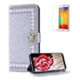 Funyye Pearl Rhinestone Silver Leather Case for Samsung Galaxy J8 2018,Stylish 3D Diamond Buckle Flip Snap Wallet Case with Stand Credit Card Holder Slots for Samsung Galaxy J8 2018,Anti Scratch Full Body Soft Silicone PU Leather Case for Samsung Galaxy J8 2018 + 1 x Free Screen Protector