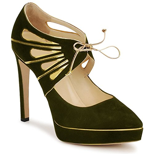 Platform Modell Golden Wildleder und Leder Design von HGilliane in 33 bis 44 Green