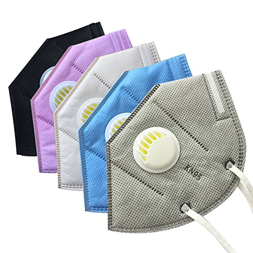 Muryobao Mouth Mask Anti Pollution Mask Unisex Outdoor Protection N95 4 Layer Filter Insert Anti Dust Mask with Valve Filter for Men Women 5 Pack Grey Blue White Pink Black