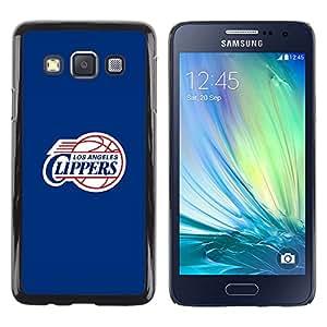 LA Clipper Baloncesto - Metal de aluminio y de plástico duro Caja del teléfono - Negro - Samsung Galaxy A3