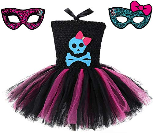 Skeleton Monster High School Tutu Dress w/Free MH Mask from Chunks of Charm (3T)
