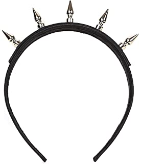 Black Cone Spikes Genuine Leather  Top Hair Headband Gothic Cosplay