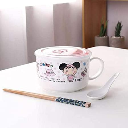 XOSHX Tazón de cerámica con Tapa Taza de Desayuno Dibujos Animados Caja de Almuerzo Linda Caja de Almuerzo para Estudiantes Tazón Grande: Amazon.es: Hogar