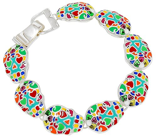 80's Costume Ideas Madonna (Colorful Sugar Skull Day of the Dead Inspired Silver Tone Magnetic Charm Bracelet Halloween Jewelry)