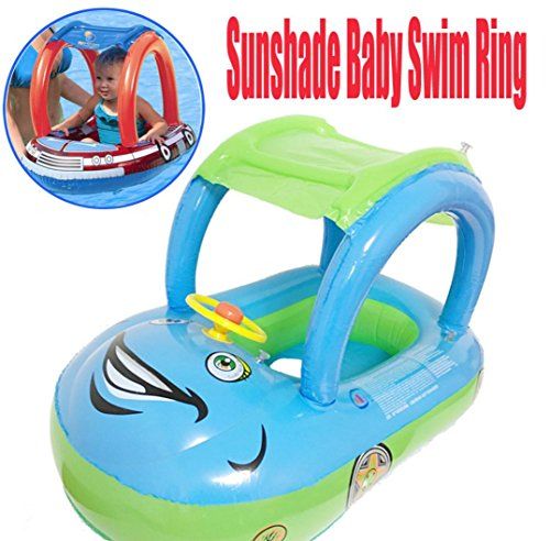 Leegor Baby Infant Inflatable Sunshade Swim Ring Premium Kid's Pool Float Chair Seat Play Beach Raft