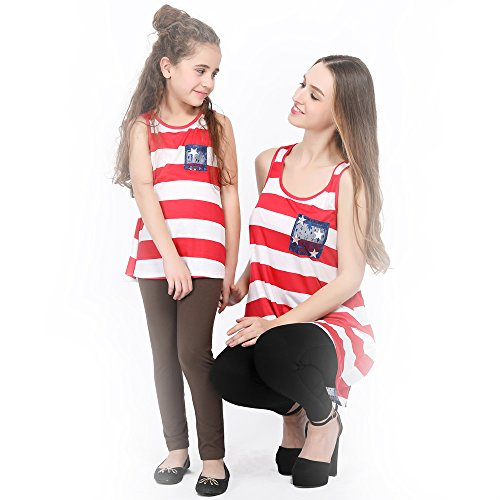 L-fannitily 2018 Family Matching American Flag Lace Pocket Stripe Back Lace Top Coat Fashion T-Shirts (10T) by L-fannitily (Image #4)