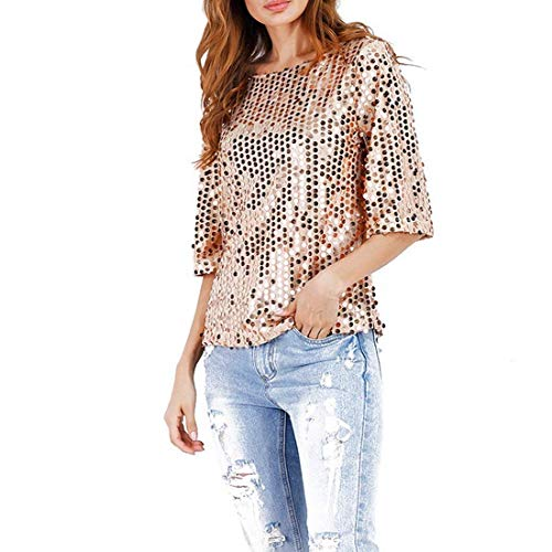 Jeune 4 Shirts Basic fashion Haut Confortable T Mode Femme Rose Casual Col Rond Paillettes 3 HX Elgante Party Et Mode Vetement Tshirts Manches Shirt 4H6pwTv