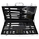 Barbecue Set, 19 Piece Stainless Steel Grilling Utensils, Heavy Duty BBQ Set with Aluminum Case, Includes Spatula, Fork, Tongs, + Many More Accessories