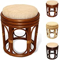 Pier Handmade Rattan Wicker Vanity Bedroom Stool Fully Assembled Colonial (Light Brown)