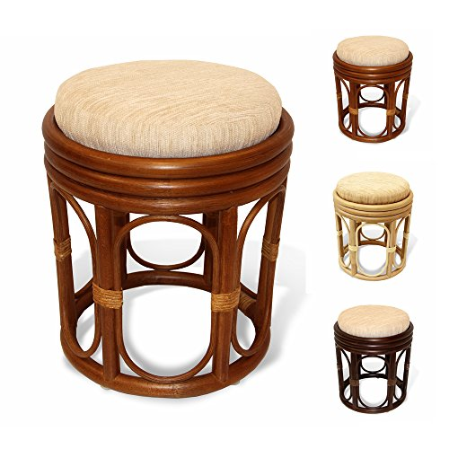 (Pier Handmade Rattan Wicker Vanity Bedroom Stool Fully Assembled Colonial (Light Brown))
