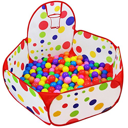 - Dreampark Kids Ball Pit Playpen Ball Tent with Basketball Hoop and Zippered Storage Bag for Toddlers, 3.93 ft/120cm (Balls not Included)