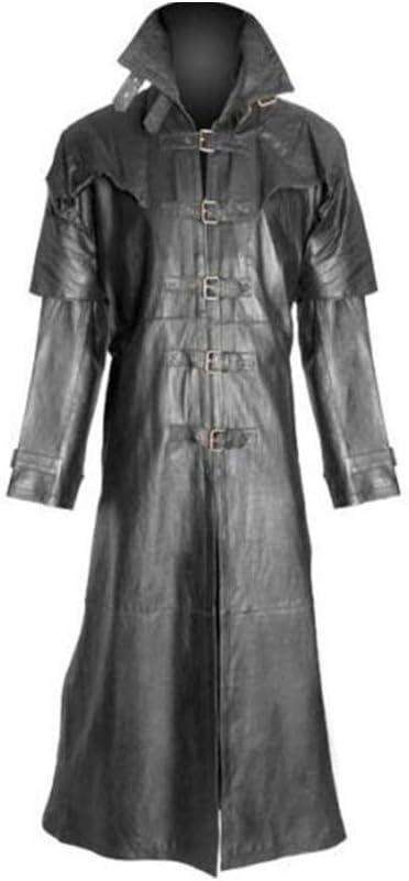 BJHIOJ Abrigo Largo Gótico De Invierno para Hombre Gabardina Abrigo De Cuero Chaqueta De Cuero Sintético Abrigo Traje De Cosplay