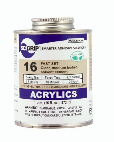 (SCIGRIP 16 Acrylic Cement, Low-VOC, Medium bodied, 1 Pint Can with Screw-on Cap, Clear)