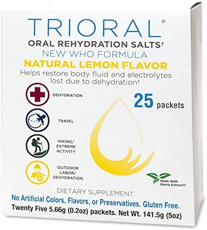 TRIORAL Natural Lemon w Stevia Oral Rehydration Salts World Health Organization WHO New Formula for Food Poisoning, Hangover Prevention and Relief, Dehydration from Diarrhea 25 Packets Box